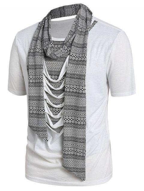 Tribal Print Ripped T-shirt with Scarf - WHITE 2XL