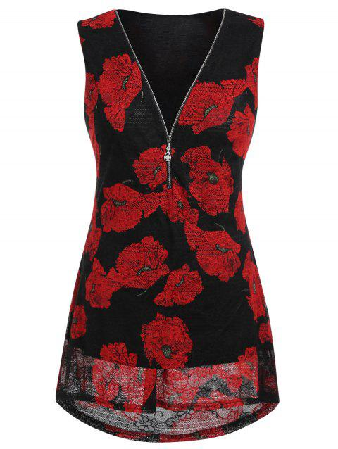 Plus Size Floral Print Zippered Tank Top - BLACK L