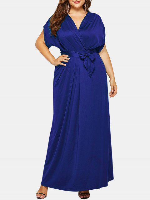 Plus Size Batwing Sleeve Surplice Maxi Dress - NAVY BLUE 2X