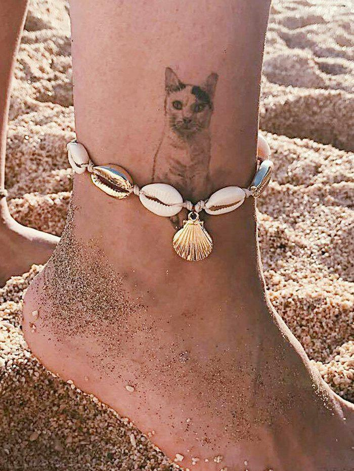Beach Rope Cowrie Shell Anklet - GOLD