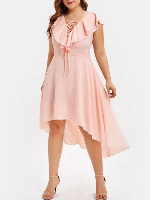 CUSTOM] 2019 Plus Size Lace Up High Low Dress In PINK 3X | DressLily.com