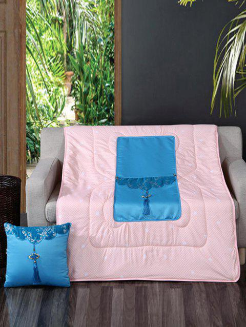 2 In 1 Tassel Folding Pillow Quilt - CRYSTAL BLUE