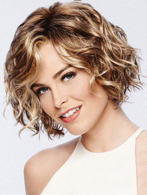 Short Colormix Wavy Synthetic Wig - BROWN