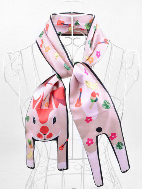 Two Layers Animal Print Neck Scarf - PINK