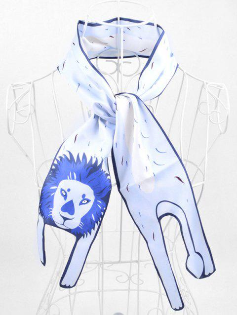 Two Layers Animal Print Neck Scarf - AZURE