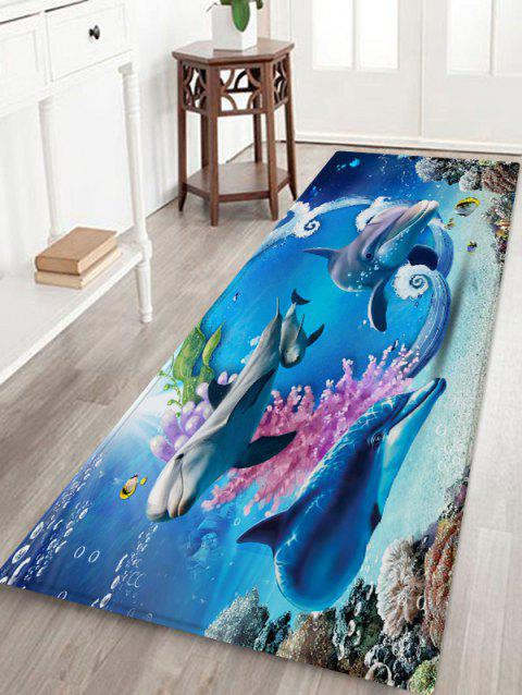 Ocean Dolphins Pattern Floor Rug - multicolor A W24 X L71 INCH