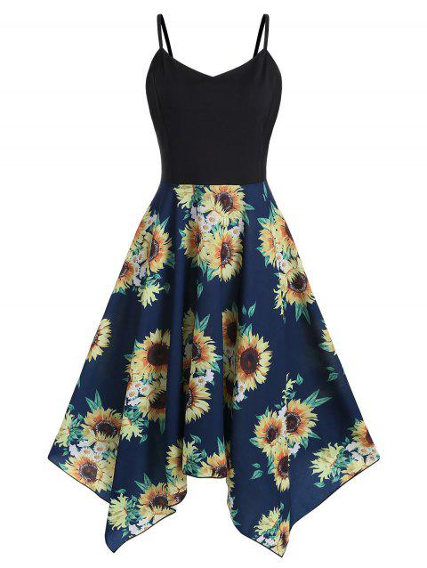 Plus Size Sunflower Print Handkerchief Dress - multicolor A 2X