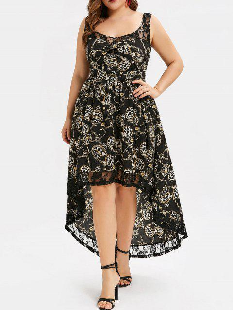 48d6775a38c CUSTOM  2019 Chain Print Lace Panel Plus Size High Low Dress In ...