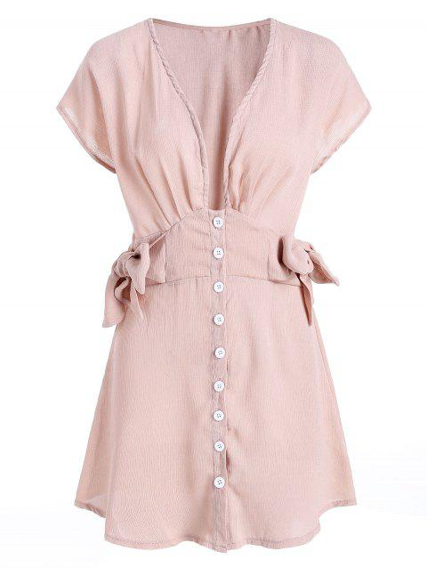 Button Up Plunge Neck Knot Side Dress - APRICOT M