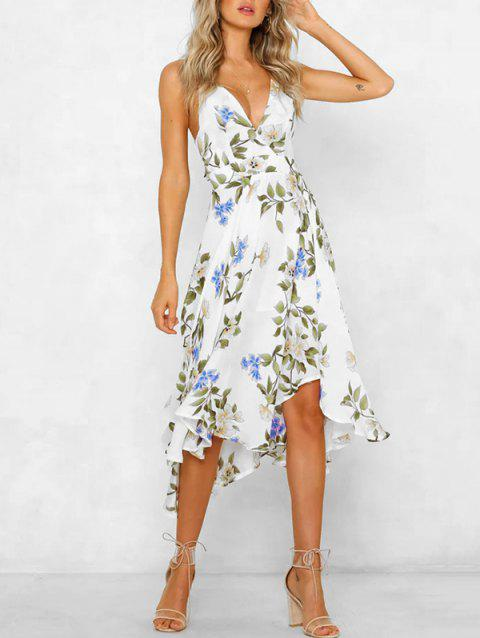 Floral Asymmetrical Tie Back Dress - WHITE M