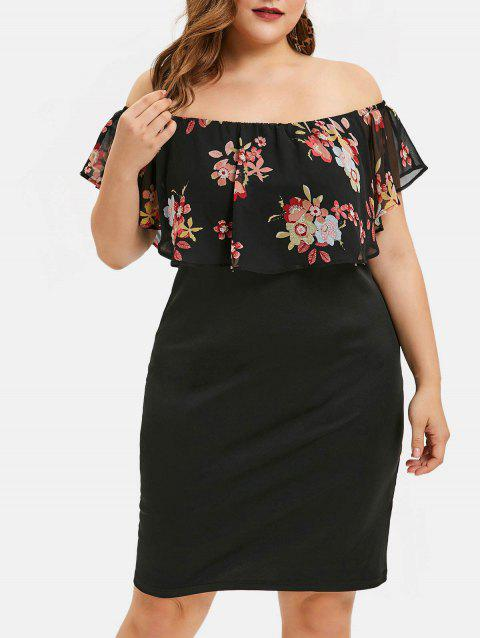 Plus Size Off The Shoulder Floral Ruffled Dress - BLACK 5X