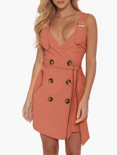 Button Embellished Pocket Belted Dress - LIGHT CORAL XL