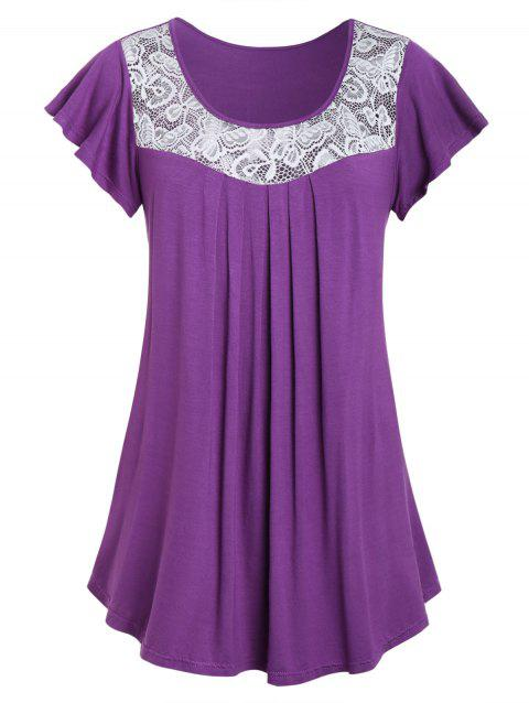 Plus Size Lace Panel Flare T Shirt - DARK ORCHID 2X