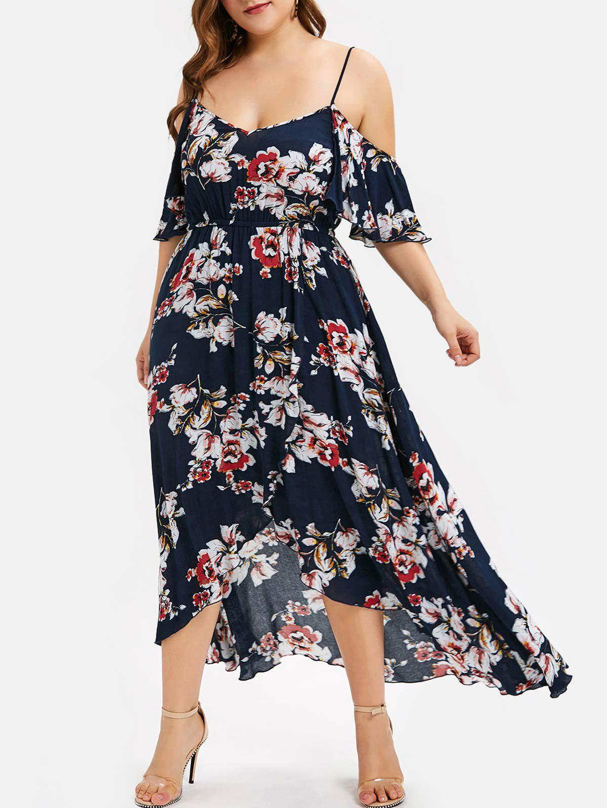 Plus Size Cold Shoulder High Low Floral Dress