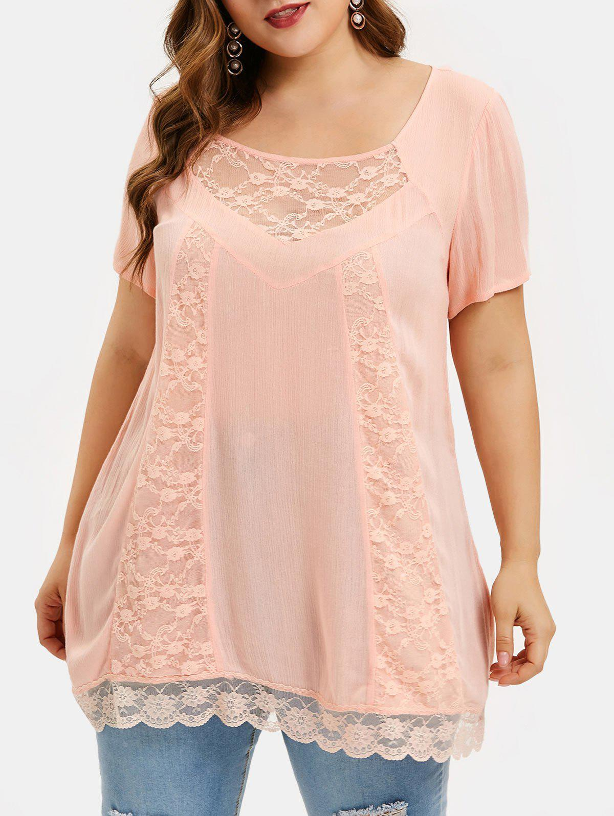 Plus Size See Thru Lace Insert Tunic T Shirt - DEEP PEACH L