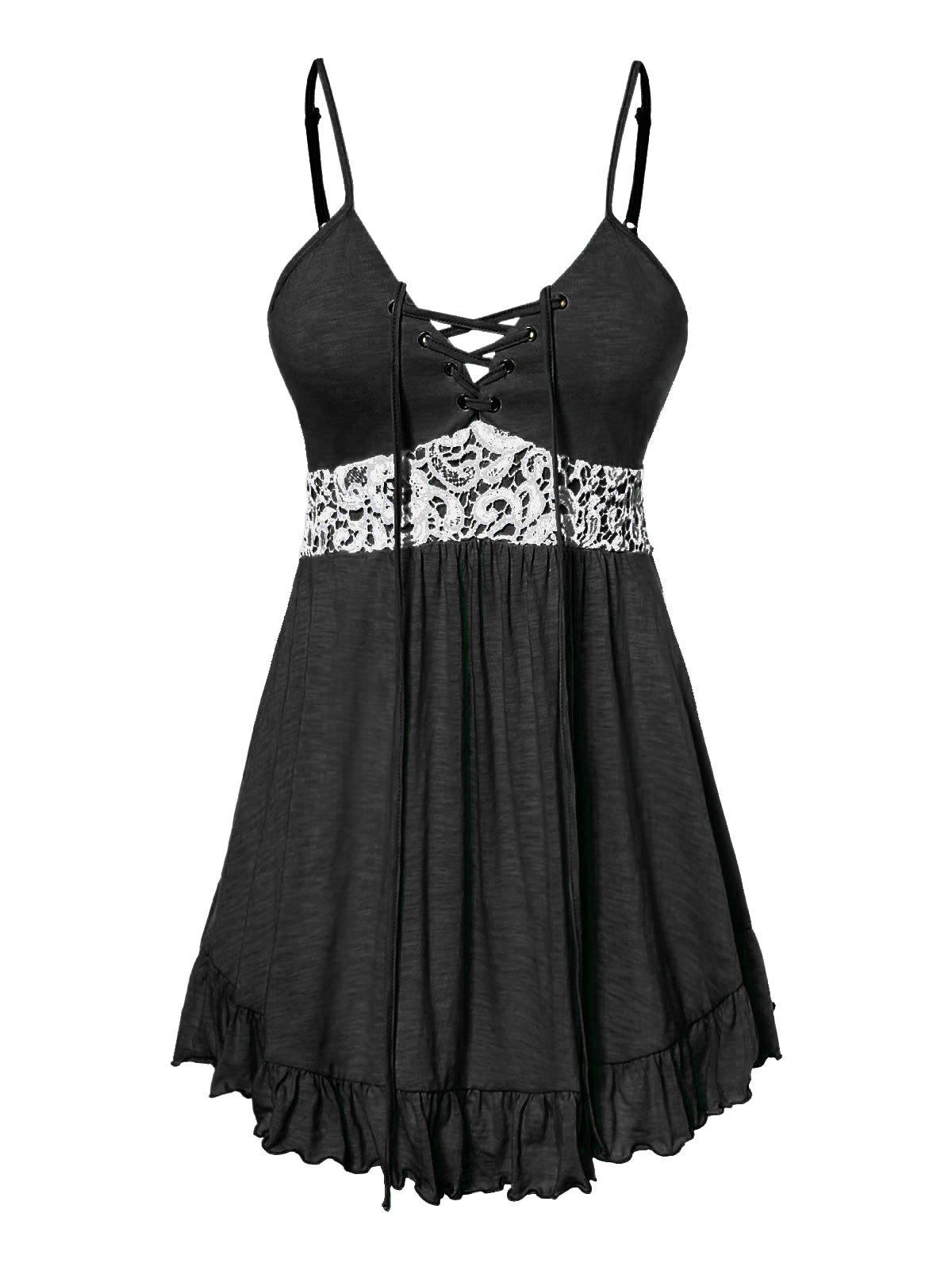 Plus Size Cami Lace Panel Tank Top - BLACK 5X