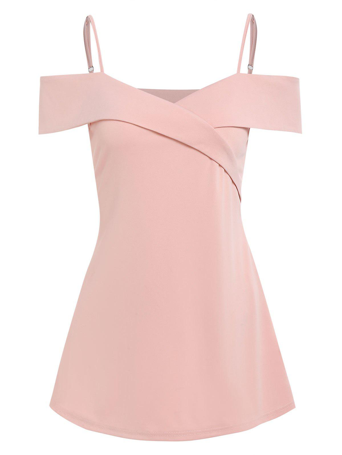 Cold Shoulder A Line Tunic Tee - PINK M