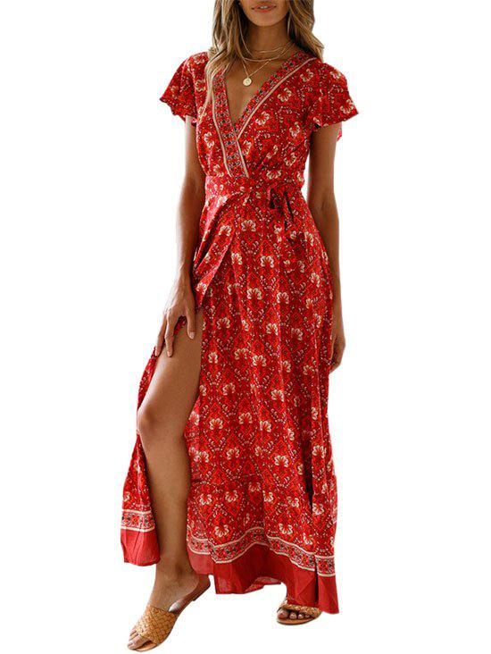 Bohemian Plunging Floral Wrap Dress - ROSSO RED XL