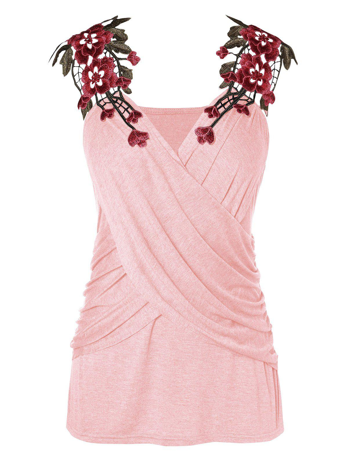 Plus Size Criss Cross Lace Applique Tank Top - PIG PINK 4X