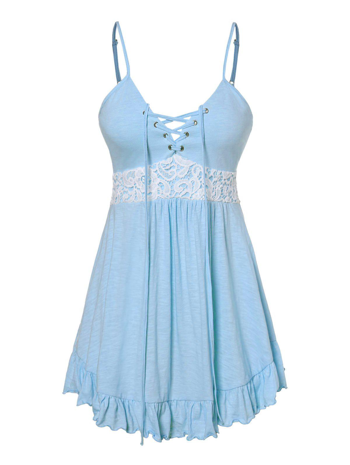 Plus Size Cami Lace Panel Tank Top - LIGHT SKY BLUE 4X
