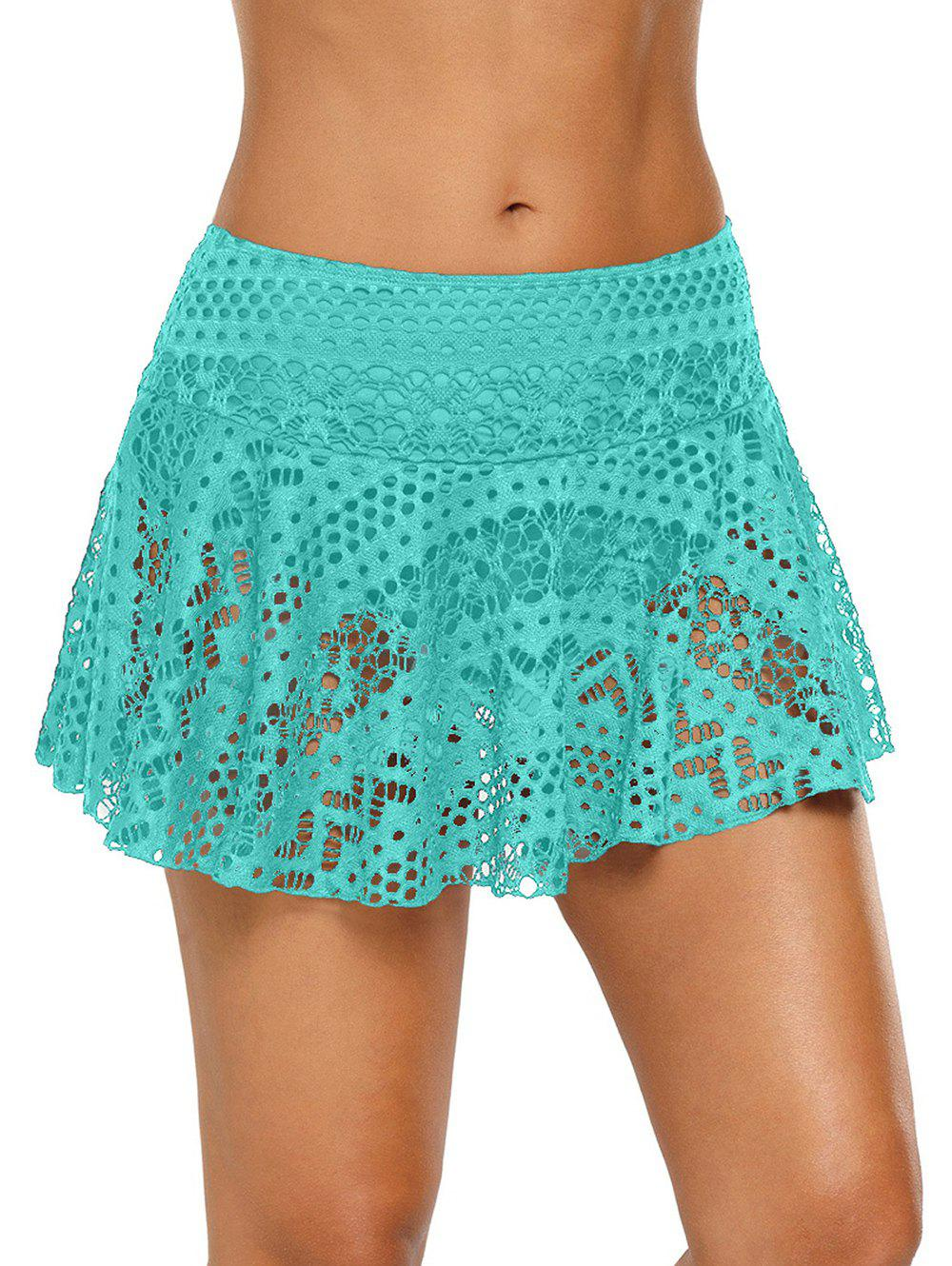 Crochet Skirted Swimming Briefs - MACAW BLUE GREEN S
