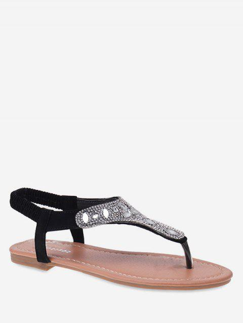 Faux Diamond Thong Flat Sandals - BLACK EU 40