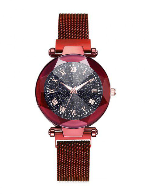 Watch Starry Diamond Mirror Luminous Magnetic Clasp Watch - RED