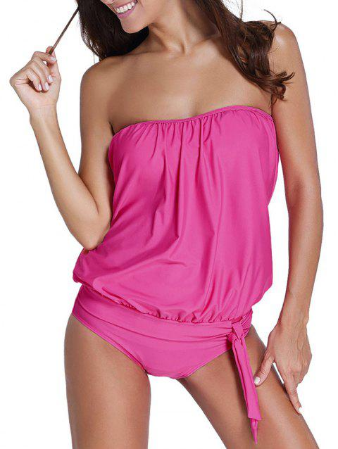 Strapless Plain Knotted Tankini Set - HOT PINK S