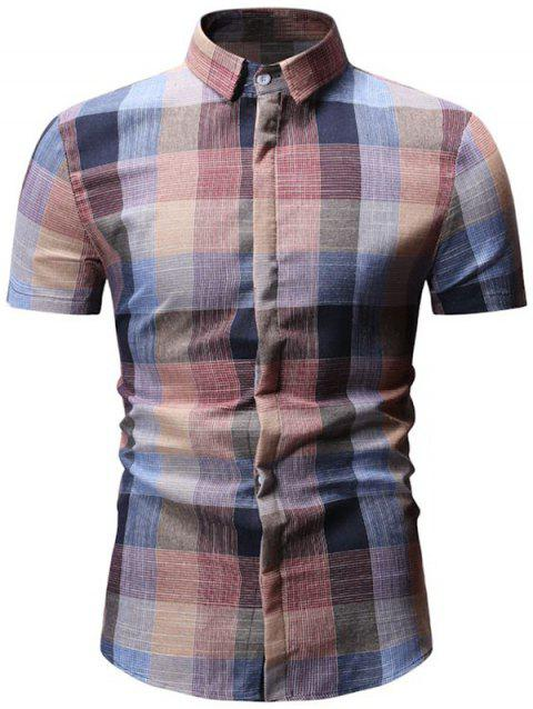 Plaid Printed Casual Short Sleeves Shirt - PINK L