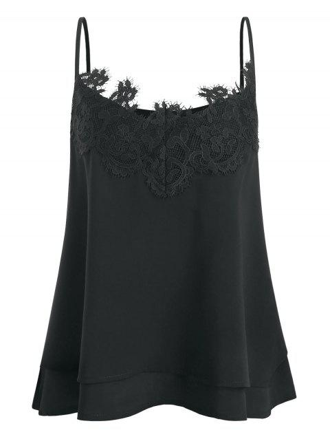 Lace Panel Overlay Cami Top - BLACK XL