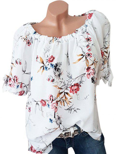 Floral Print Plus Size Tied Sleeve Blouse - WHITE 5X
