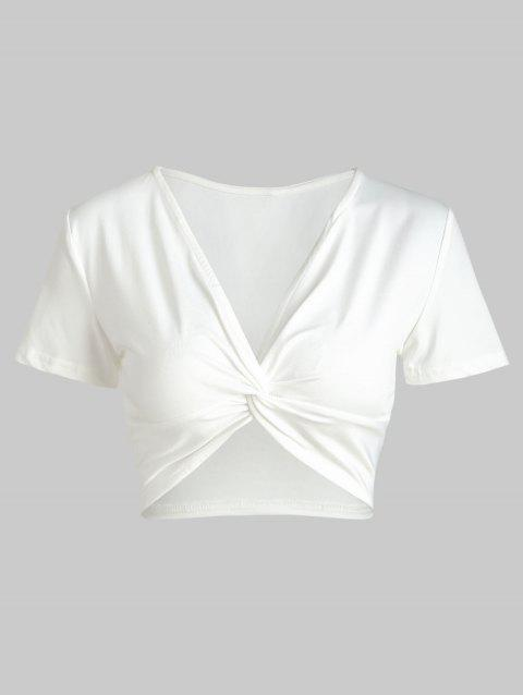 Twist Front Crop Top - Blanc M