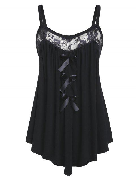 Plus Size Lace Panel Bowknot Embellished Cami Top - BLACK L