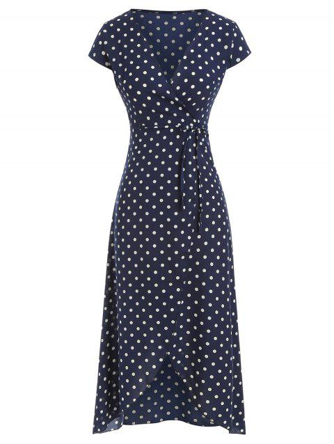 Polka Dot Belted Asymmetric Dress - CADETBLUE 3XL