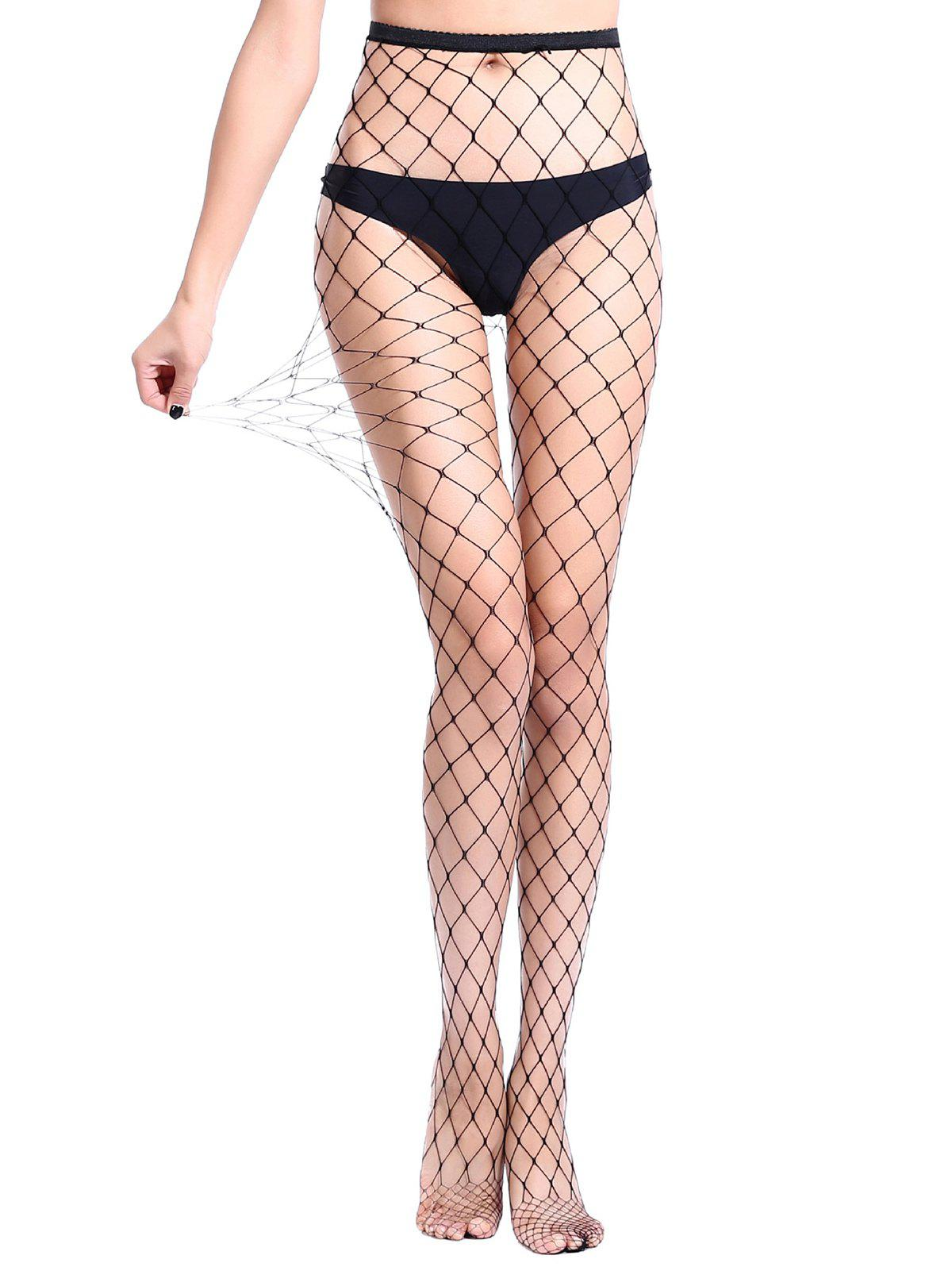 Hollow Mesh Fishing Net Pantyhose - BLACK OVERSIZE