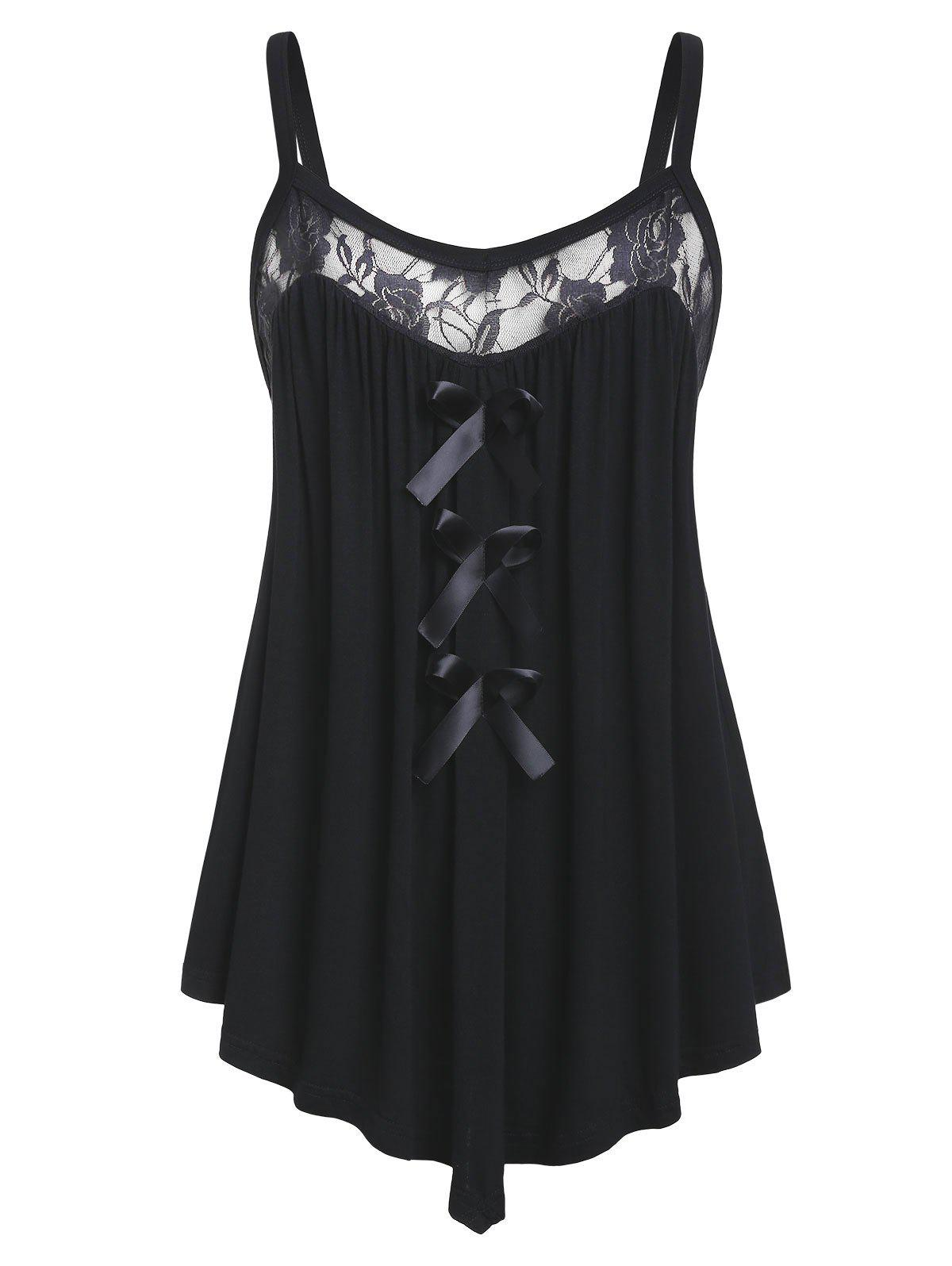 Plus Size Lace Panel Bowknot Embellished Cami Top - BLACK 4X