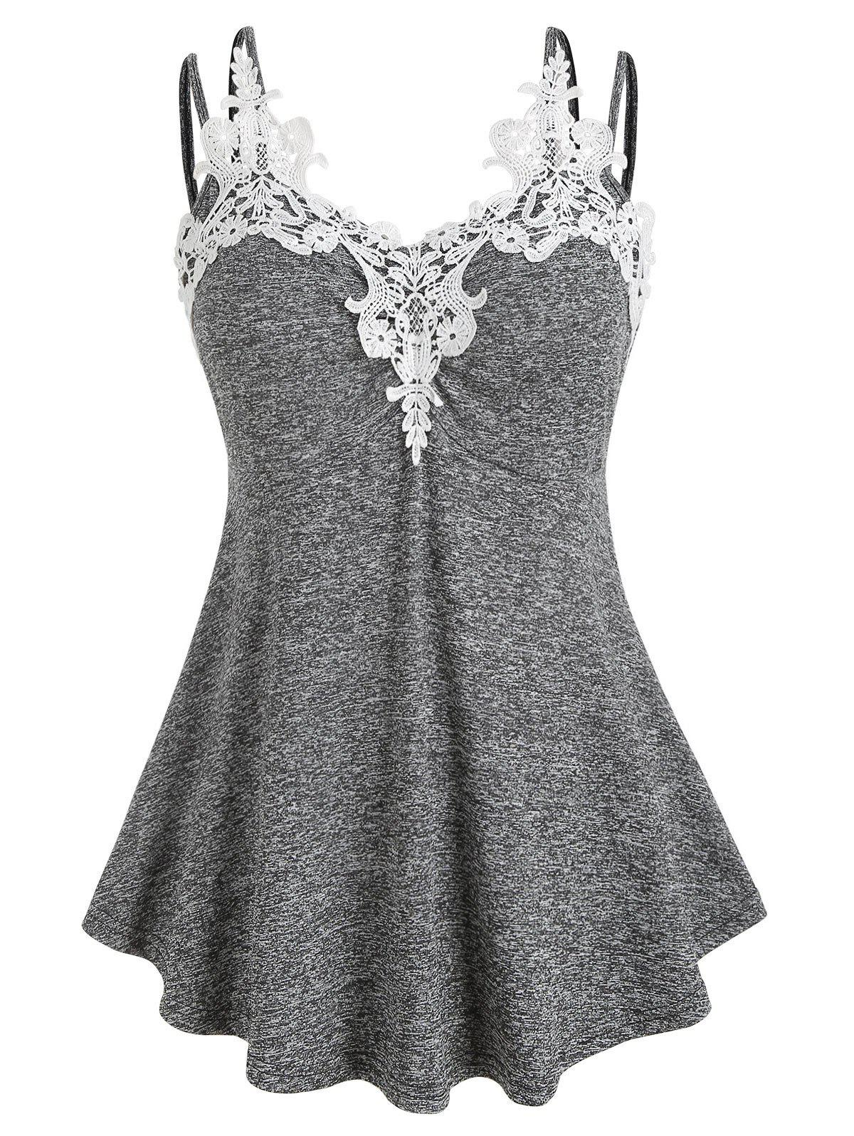 Plus Size Marled Lace Insert Tank Top - DARK GRAY M