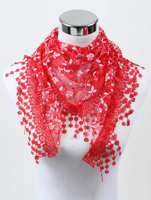 Flower Lace Fringe Triangle Scarf - RED