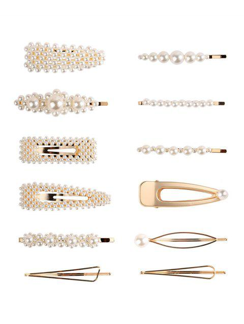 Artificial Pearl 12Pcs Hairpins Set - GOLD