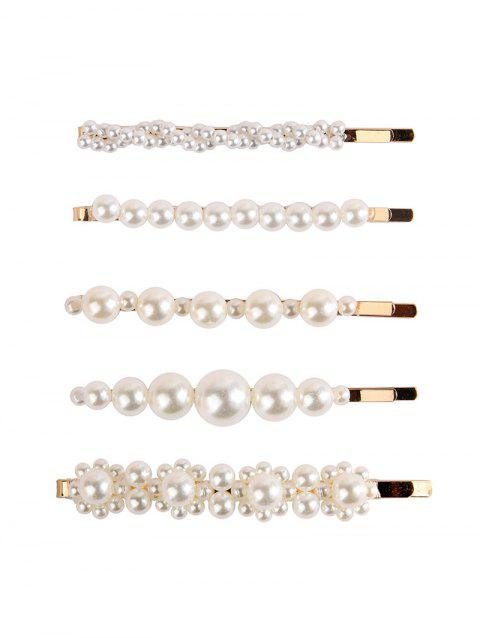 5Pcs Faux Pearl Hair Bobby Pin Set - GOLD