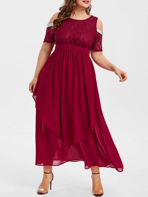 Plus Size Open Shoulder Sequined Prom Dress - RED WINE 3X