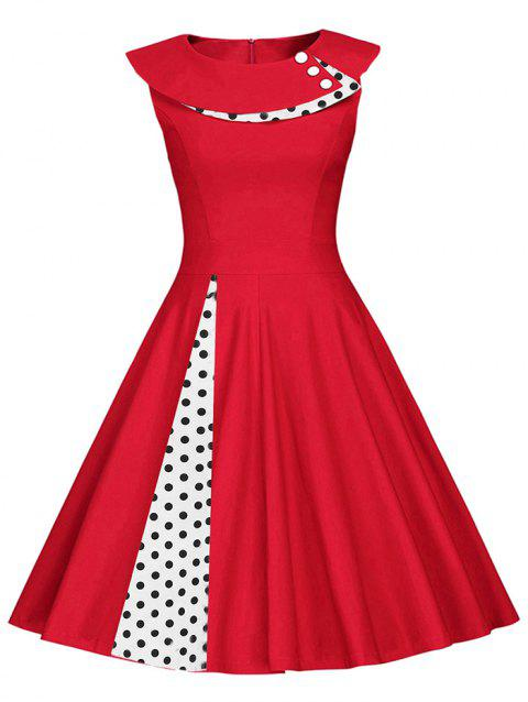 Button Embellished Polka Dot Sleeveless Dress - RED 2XL