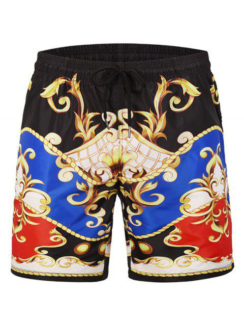 Tribal Print Drawstring Board Shorts - BLACK XL