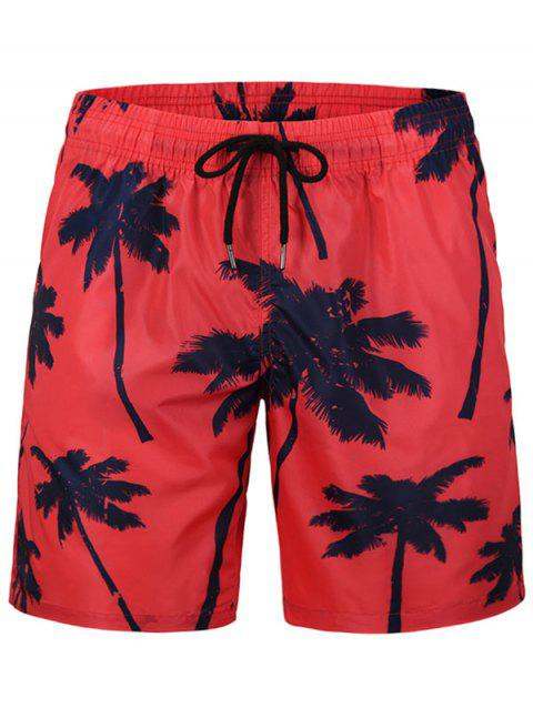 Coconut Tree Printed Board Shorts - RED 2XL