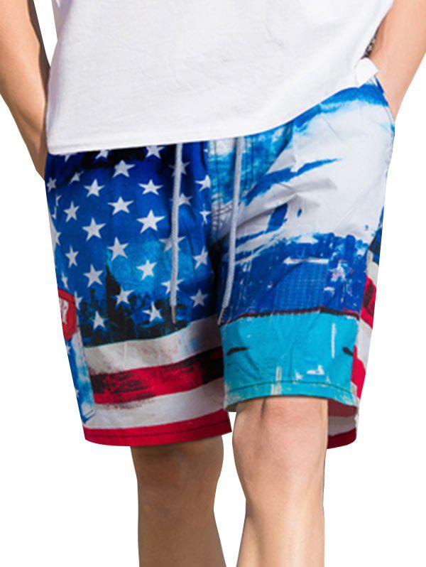 American Flag Print Casual Board Shorts - OCEAN BLUE S