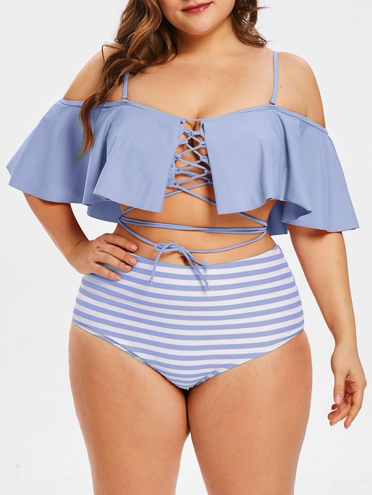 Plus Size Lace Up Striped Panel Bikini Set - LAVENDER BLUE 2X