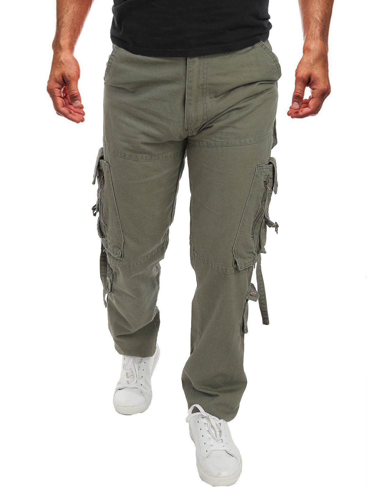 Pocket Decoration Casual Cargo Pants - PISTACHIO GREEN 38