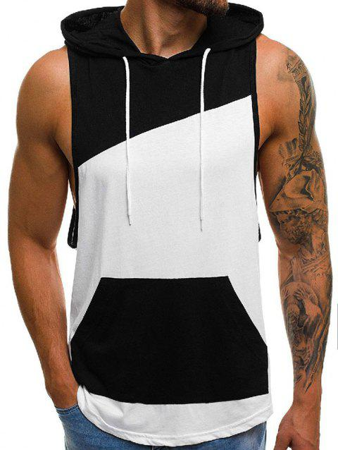 Color Spliced Hooded Tank Top - WHITE XL