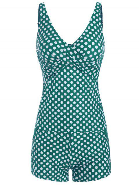 Polka Dot Overlap Tankini and Boyshort - MACAW BLUE GREEN M