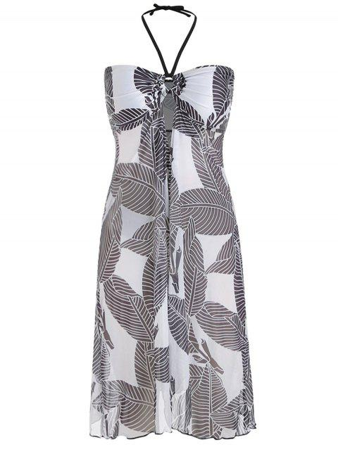 Plus Size Leaves Print High Low Cover Up Dress - multicolor A TOP 3X